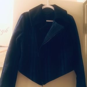 rag & bone royal blue & black wool moto jacket
